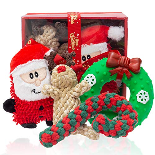 DMISOCHR Christmas Dog Toys - Dog Squeaky Toys & Dog Rope Toys, Safe Rubber/Plush Squeaky Toys, Soft Cotton Chew Toys, Cute Christmas Interactive Toys Box Gifts for Small, Medium, Large Dogs