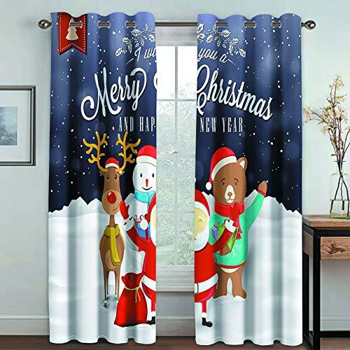 MMHJS Cortinas Impresas De La Serie Nordic 3D Christmas, Cortinas Suaves Impermeables De Poliéster Grueso, Cortinas Opacas para Balcón Y Sala De Estar (2 Piezas)