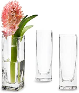 """Serene Spaces Living Set of 4 Soft Square Vase – Classic, Clear Glass Vase, Use for Home Décor, Event Centerpieces and More, 2"""" L x 2"""" W x 6"""" H"""