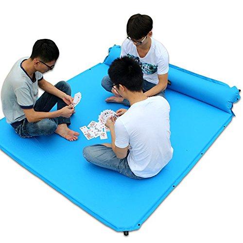 XY&CF Tapis de sommeil gonflable automatique double de couchage de tapis avec des oreillers attachés, confortable 2 personnes en plein air, randonnée, sac à dos, plage 190 * 160cm (Couleur : B)