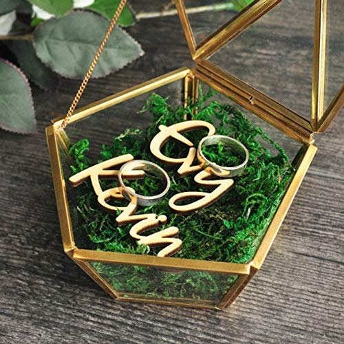 Caja geométrica del anillo del terrario,Caja del anillo de boda de vidrio,Caja de joyería de cobre,Caja de anillo de boda personalizada,Almohada del portador del anillo de boda,para la ceremonia