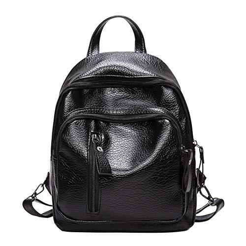 MIOANFG Mochila para mujer de piel sintética de viaje, bolsa de hombro, bolsa de hombro, para niña, sólida, multifuncional, pequeña mochila escolar para mujeres