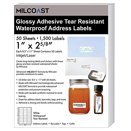 """Milcoast Glossy White Waterproof Tear Resistant 1"""" x 2-5/8"""" Address Labels - for Inkjet/Laser Printers - 1500 Labels (50 Sheets)"""