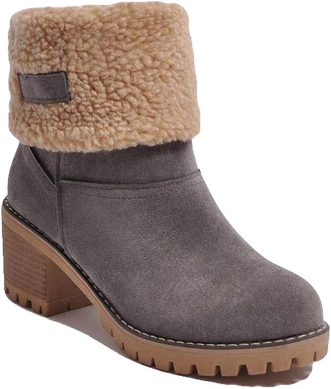 York Zhu Women Boots,Winter Warm Waterproof Ankle High Casual Boots Size 8