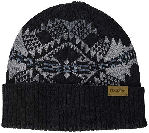 Pendleton Men's Knit Merino Wool Beanie Cap, Journey West Black, 1-SZ