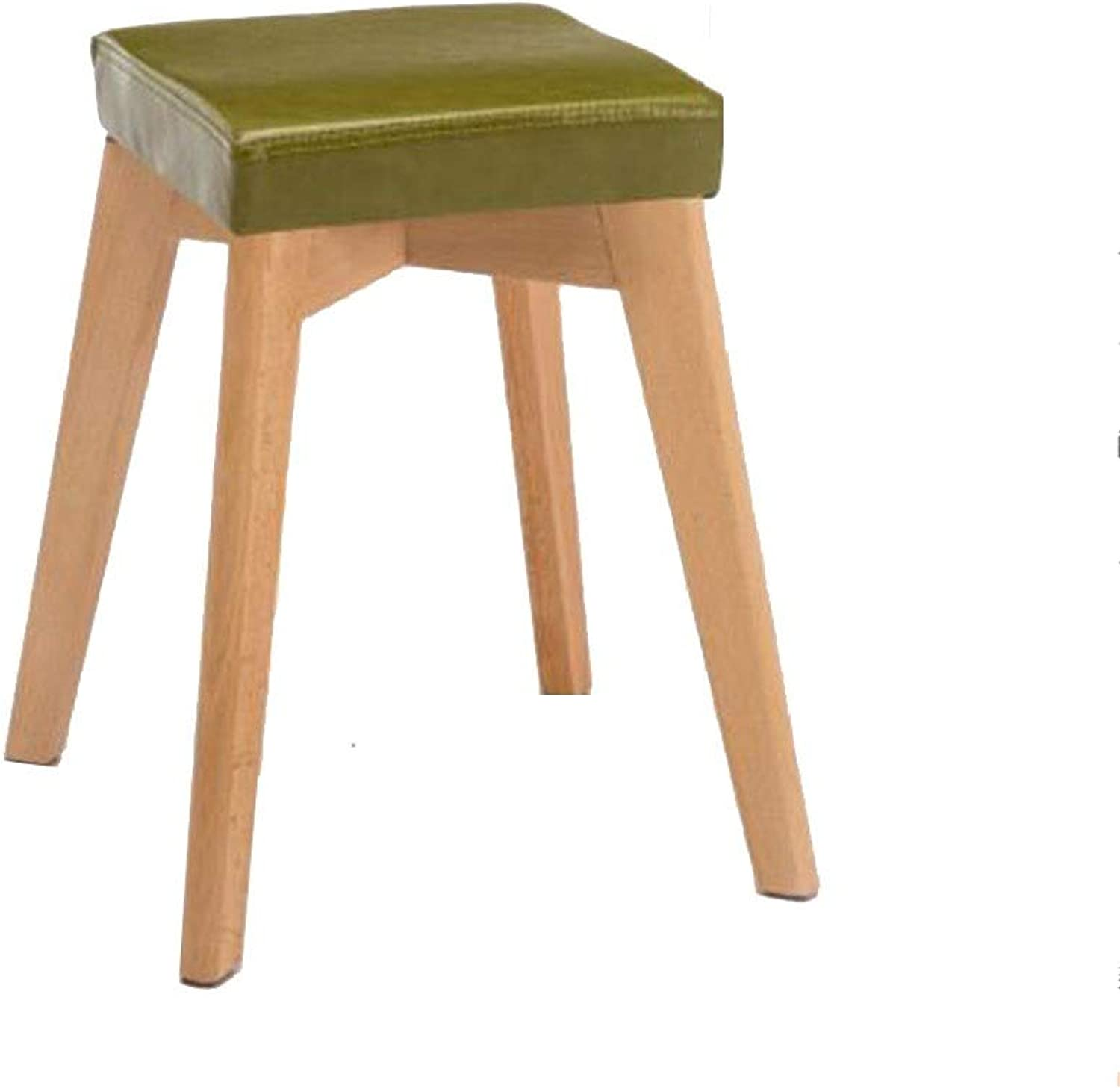 QIQI-LIFE Wood Stool Stackable Small Wooden 4 Legs Square Dining Stool,Faux Leather Padded,45x31x31cm (color   Green, Size   Wood color Legs)