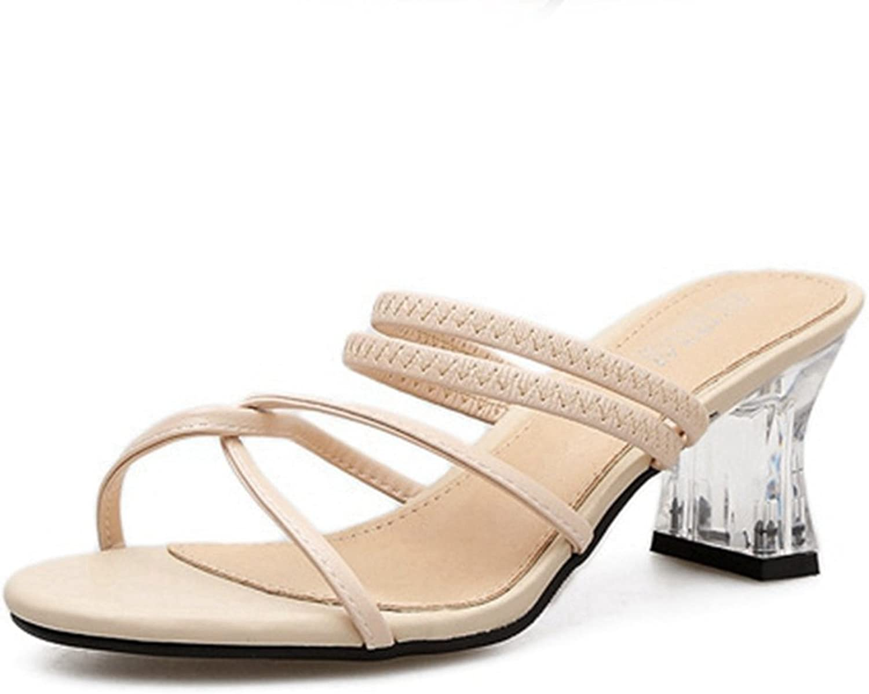 CYBLING Womens Open Toe Lucite Low Heel Strappy Sandals Slip On Summer Slide Slippers