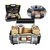 HYDT El Mejor compresor de Aire portátil, inflador de neumáticos con manómetro, Doble 30 Cilindros 12V neumático vehículo eléctrico Bomba multifunción