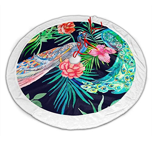 BAJUNTU Peacock Bird Round Ornament Christmas Tree Skirt Indoor Outdoor Mat Xmas Party Holiday Decorations New Year Party Supply