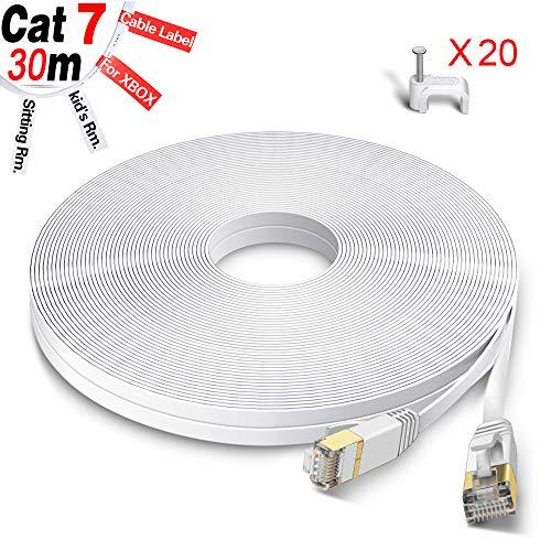 GLCON Cat7 Netzwerkkabel 30m High Speed Ethernet Kabel 600 MHz 10000 Mbit/s Flach LAN Kabel Kompatibel mit Switch/Router/Modem/Patch-Panel Weiß