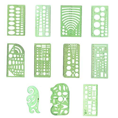 11 Piezas geométricas Dibujos Plantillas Plantillas de plástico Reglas de Plantilla de medir la Forma Verde Claro Oficina de la Escuela Dibujo de Ingeniería de Redacción de Plantillas