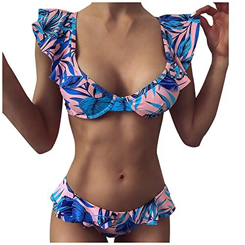 Traje de Baño de Volante para Mujer,Ropa de Baño de Estampadocon Relleno Retirable para Mujer,Conjunto de Bikini de Playa,Ropa de Playa de Dos Piezas,Bañadores Ideal para Piscina,Vacaciones,Mar