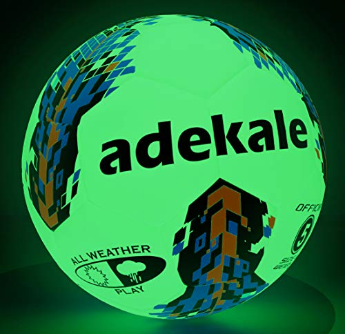 adekale Soccer Balls Size 4 Glow in The Dark Light Up Soccer Ball 32 Panels Official Size with Needles and Pump Ball Toy for Men Youth and Kids Indoor Outdoor Practice Training