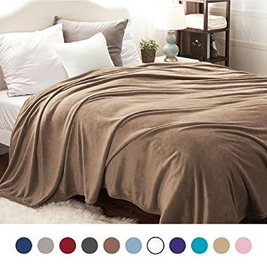 Bedsure Flannel Fleece Luxury Blanket Camel King Size Lightweight Cozy Plush Microfiber Solid Blanket