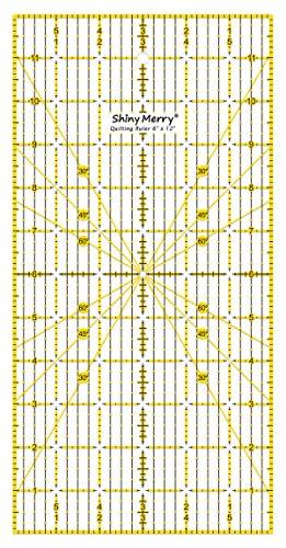 Shiny Merry non Slip Acrilico Quilting Righello per Patchwork, Cucire Giallo e Nero Modello di Linee 6 x 12 Pollici