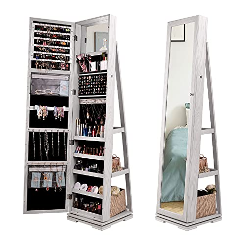 Lvifur 360° Giratorio Armario Joyero, Armario de Joyas 3 en 1, Guarda Joyas de Pie, Gabinete de Belleza, con Espejo para maquillarse, estantes, Cerradura