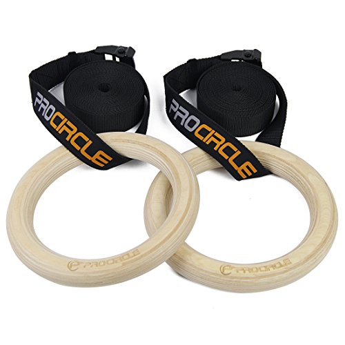 Procircle Wood Gymnastic Olympic Gym Rings with Buckle Straps Strength Training