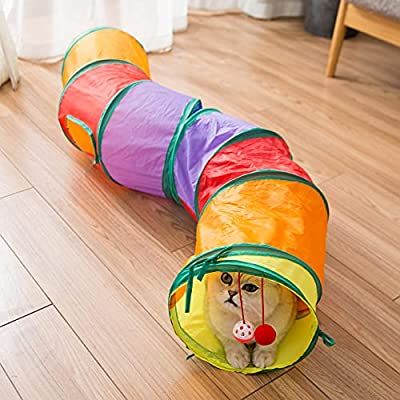 Blnboimrun Cat Tunnel with Play Ball, Interactive Peek-a-Boo Cat Chute Cat Tube Toy, Camouflage S-Tunnel for Indoor Cat by Blnboimrun