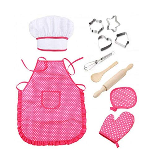 Canrulo 11pcs Kids Cooking and Baking Set with Apron,Chef Hat,Cooking Mitt, Cookie Cutters,for3-8 Kids Gift (Pink)