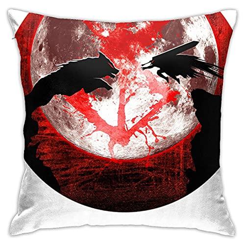 Anime Blood Moon Ts and Wolf Fundas de almohada clásicas,fundas de almohada de suelo,fundas de almohada,cojines de sofá,fundas de cojín,fundas de descanso Ba,interiores de cojines de coche