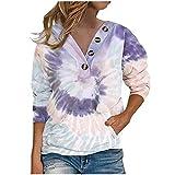 Sudaderas para mujer Tie Dye Tops Botón V Cuello Camisetas Señoras Sueltas Blusa Casual Túnica Tops Mujer Ropa Regalo, Morado (, S