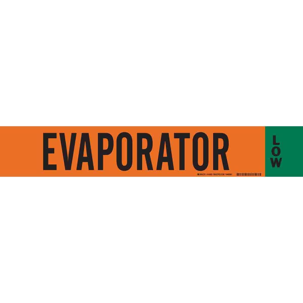 Brady Ammonia (IIAR) Pipe Markers, Evaporator/Low