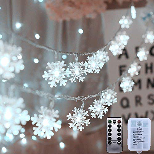 AODINI Christmas Decorations, 19.6 ft 40 LED Snowflake String Lights Battery Operated, 8 Modes Waterproof Christmas Lights with Remote for Xmas Party Garden Patio Bedroom Decor Indoor Outdoor