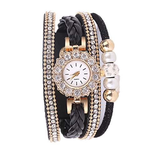 Uhren Damen Quarzuhr Frauen Armbanduhr Armband Exquisit Uhr Seil Ketten wickelnde Uhr Analoge Bewegungs Armbanduhr Strick Uhrenarmband Watch,ABsoar (C Schwarz)