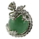 SUUER 1 PCS Natural 15mm Piedra Preciosa Bola Colgante Envuelta Plata Aleacion Dragon para Mujeres Encantada Joyeria Collar - Aventurina Verde