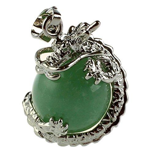 Fltaheroo 1 PCS Natural 15mm Piedra Preciosa Bola Colgante Envuelta Plata Aleacion Dragon para Mujeres Encantada Joyeria Collar - Aventurina Verde