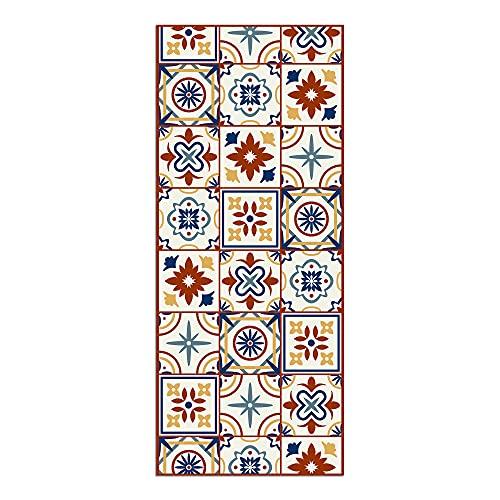 Alfombra Vinílica para Cocina, 120 x 50 cm, Baldosas de Colores, Fondo Beige, Alfombra de Vinilo Antideslizante y Lavable, Multiuso, ALV-038