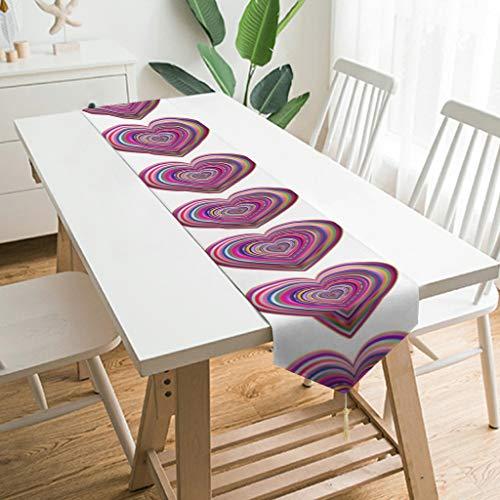 WOSITON Camino de mesa con forma de corazón hinchado, estilo nórdico, camino de mesa para baño de 79 x 13 pulgadas, el mejor regalo para cumpleaños a los amantes de color blanco 178 x 33 cm