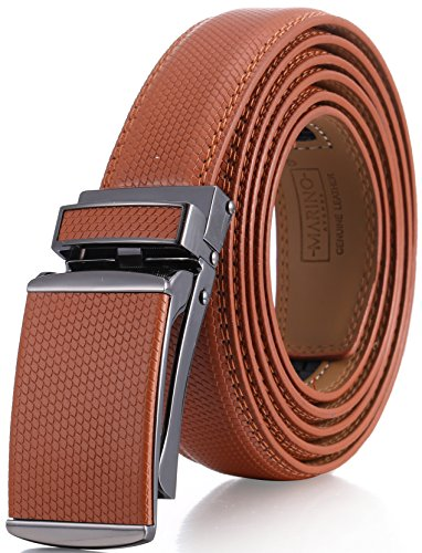 Marino Avenue Men's Genuine Leather Ratchet Dress Belt with Linxx Buckle - Gift Box (Lozenge Imprint - Tan, Adjustable from 28' to 44' Waist)