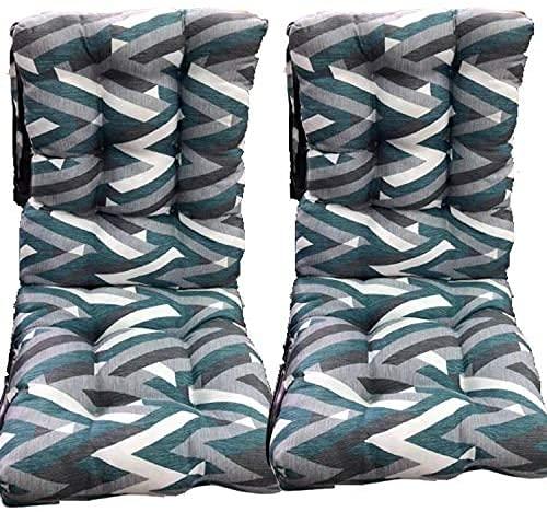 Pack 2 Cojines con Respaldo de Silla Jardin Conjunto Cojin de Asiento para Interior y Exterior Cómodo. Cojines para sillas Comedor, mecedoras, bancosterraza (Triángulo)