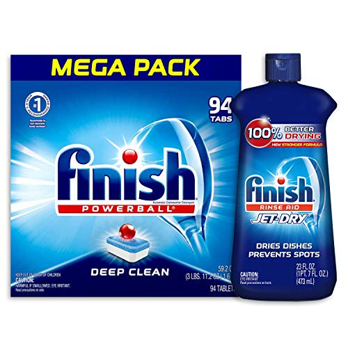 Finish - Jet-Dry Rinse Aid, 23oz, Dishwasher Rinse Agent & Drying Agent and All in 1, 94ct, Dishwasher Detergent, Powerball, Dishwashing Tablets, Dish Tabs, Fresh Scent