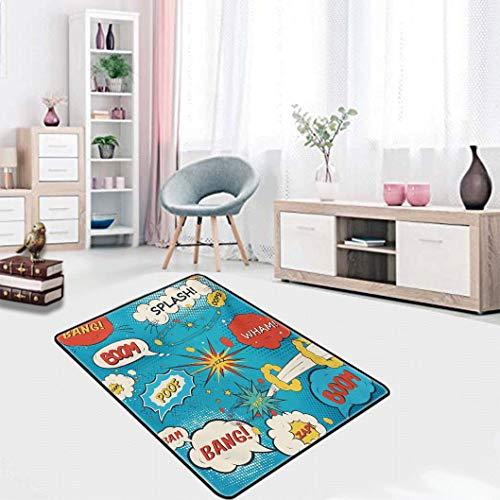 Amazing Superhero Soft Carpet Floor MatPop Art Style Comic Speech Bubbles Funny Humor Expressions Boom Splash Bang Area Rug for Bedroom Modern Accent Home Decor, 4' x 5' Blue Cream Red