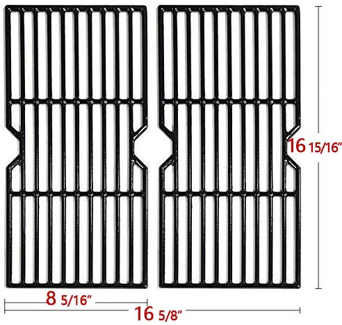 Hongso Porcelain Coated Cast Iron Cooking Grid Grates Replacement for Charbroil 463250210, 463250211, 463250212, 463251413, 463251414, 466251413; Thermos 461633514,PCF123 2 Set