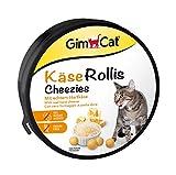 GimCat Rollis, comprimidos de queso – Snack para gatos rico en vitaminas con auténtico queso duro – Sin azúcar añadido ni cereales – 1 lata (1 x 200 g)