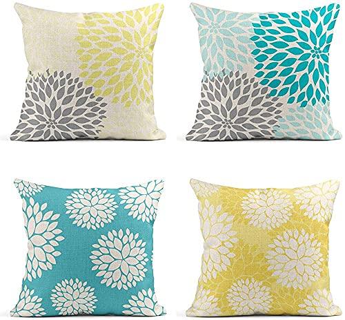 Juego de 4 fundas de almohada decorativas de lino, color amarillo y gris, azul pastel y gris, a la moda, blanco, turquesa, azul, limón, amarillo y amarillo