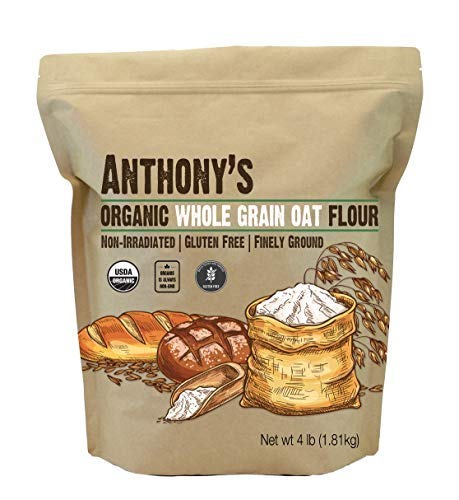 Anthony's Organic Whole Grain Oat Flour, 4 lb, Gluten Free, Non GMO, Non Irradiated, Finely Ground, Vegan