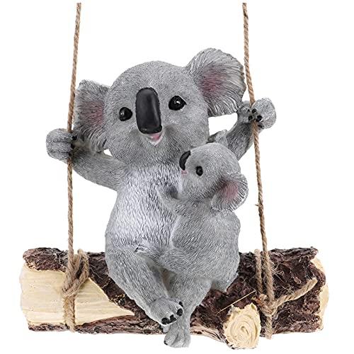 Hemoton Giardino Animale Statua Da Giardino In Resina Altalena Orso di Koala Figurine Yard Ornamenti Scultura Statue Per Patio Prato Prato All' aperto Da Tavolo Decorazioni