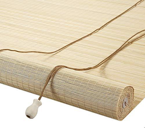Bambú Estores Enrollables Persianas Enrollables de Bambú de 120cm de Ancho, Interior Sala de Estar Ventanas Balcón, Cortinas Solares con Filtro de Luz de Estilo Japonés con Accesorios y Cuerda