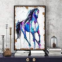 ファッションキャンバス絵画 家のソファーの背景の壁の室内装飾絵画魔法の馬の水彩画 60*90cm