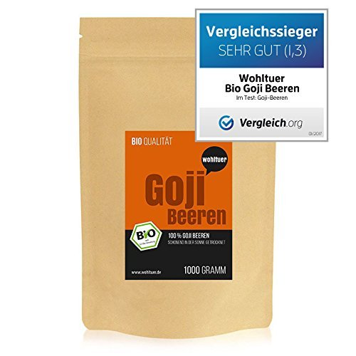 Wohltuer Bio Goji Beeren | Glutenfrei, Cholesterinfrei, Nährstoffreich | Vegetarisch und Vegan | vielseitiges Lebensmittel in geprüfter Bio-Qualität (1000g)