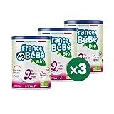 FRANCE BéBé BIO - Lait infantile de suite bébé 2ème âge en poudre - Lait fabriqué en France - 13 Vitamines 12 Minéraux - Pack 3 boîtes de 400g