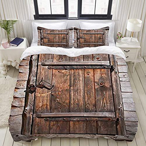 Yaoniii bedding - Duvet Cover Set, Farm Rustic Wooden Door,3-Piece Comforter Cover Set 240 x 260 cm +2 Pillowcases 50 * 80cm