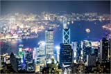 Poster 91 x 61 cm: Hong Kong Stadt und Hafen bei Nacht von