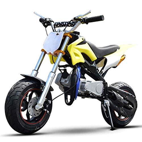 90GJ Scooter de Cross Country 2 Tiempos 49cc Arranque Manual para niños Adultos Gasolina Combustible Todoterreno pequeño Deportivo Amarillo
