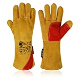 SAFTA Extreme Heat Resistant Gloves, Cow leather with Kevlar Stitching, Ideal Welding gloves( TIG, MIG, ARC, STICK) , Perfect BBQ gloves for cooking in Grill and Oven (Size 10, Yellow) (Yellow)