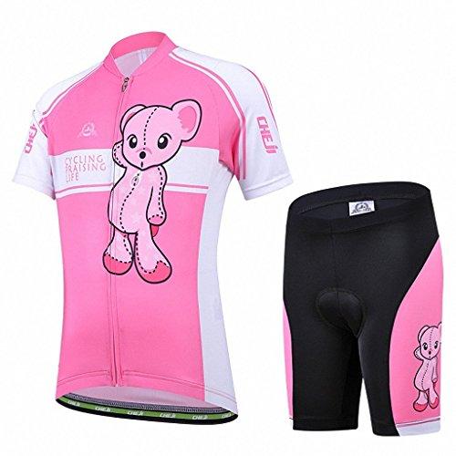 Vivi Pray Set di Maglia Ciclismo per Bambino (Maglia Bici a Manica Corta + Pantaloncini con